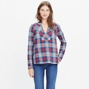 MADEWELL Indigo Dyed Popover Shirt in Casey Plaid